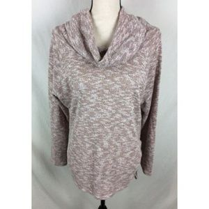 Umgee Cowl Neck Sweater Coral Pink White